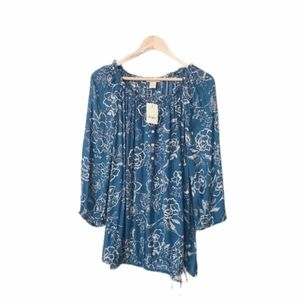 LUCKY BRAND Boho Peasant Top Blue Print Floral 3X